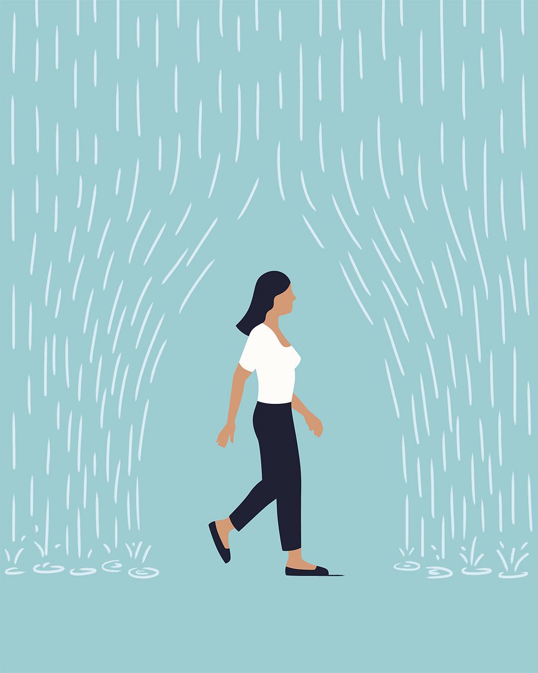 Egy nő sétál egy esőfüggöny alatt, ami nem éri őt - reziliencia.